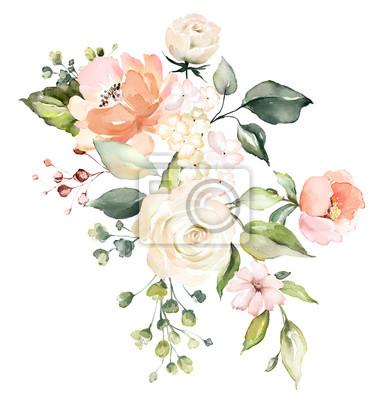 kwiaty w akwarela. ilustracja kwiatowa, liść i pąki. Botaniczny skład na ślub lub karty z pozdrowieniami. róże abstrakcji