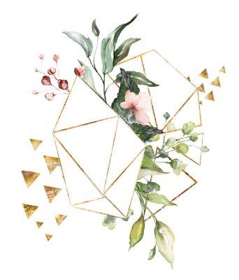 kwiaty w akwarela. ilustracja kwiatowa, liść i pąki. Kompozycja botaniczna o geometrycznym kształcie wielokąta. gałąź kwiatów