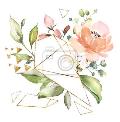 kwiaty w akwarela. ilustracja kwiatowa, liść i pąki. Kompozycja botaniczna o geometrycznym kształcie wielokąta. gałąź kwiatów - róże abstrakcji