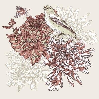 Kwiaty z ilustracji ptaków