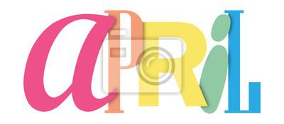 Naklejka KWIECIEŃ kolorowy sztandar typograficzny