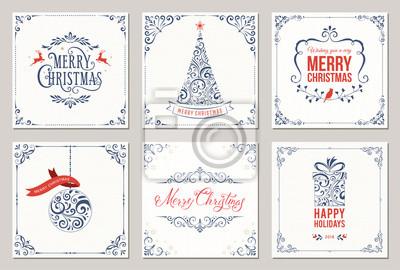 Kwiecisty kwadratowych zimowe kartki z pozdrowieniami z drzewa nowego roku, pudełko, ozdoby świąteczne, ramki wirowe i projekty typograficzne.