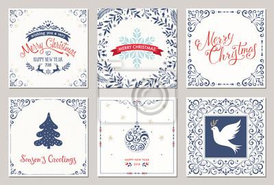 Kwiecisty kwadratowych zimowe kartki z życzeniami z drzewa nowy rok, renifery, ozdoby świąteczne, pokój Dove, śnieżynka, projekty typograficzne, wirowa i klatek kwiatowy.