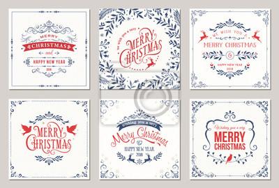 Kwiecisty kwadratowych zimowych świąt kartki z typografią, renifery, świąteczne gołębie, kwiatowy i wirować ramki.