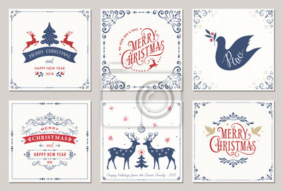 Kwiecisty kwadratowych zimowych wakacji kartki z Nowego Roku drzewa, renifery, ozdoby świąteczne, Gołębie pokoju, ramki wirowe i projekty typograficzne.