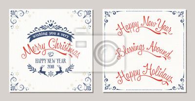 Kwiecisty zimowe wakacje design typograficzny z reniferów, płatki śniegu i ramki wirowa. Wesołych Świąt, Szczęśliwego Nowego Roku, Błogosławieństw obfitujących i Wesołych Świąt napis.