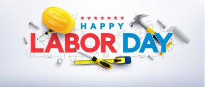 Naklejka Labor Day poster template.International Workers' Day celebration with Yellow safety hard hat and construction tools.Sale promotion advertising Poster or Banner for Labor Day