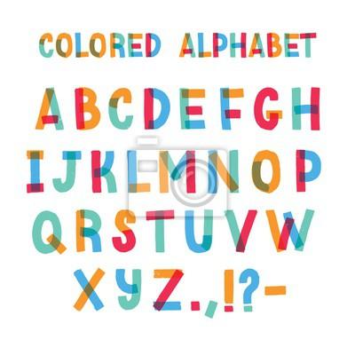 Łacińska czcionka lub dekoracyjny alfabet angielski wykonany z kolorowej taśmy samoprzylepnej. Zestaw jasny kolorowy stylizowane litery ułożone w kolejności alfabetycznej i na białym tle. Ilustracji w