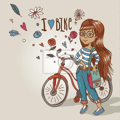 ładna dziewczyna z rowerem