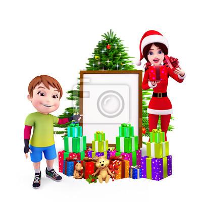 Naklejka ładny chłopiec trzymając znak z darami