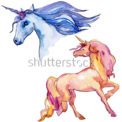 Naklejka Ładny jednorożec konia. Bajkowe dzieci słodki sen. Tęczowy róg zwierzęcy charakter. Element ilustracja na białym tle. Aquarelle dzikie zwierzę dla tła, tekstura, wzór otoki lub tatuaż.