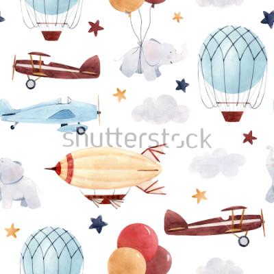 Naklejka Ładny wzór akwarela dzieci. Tapeta dla chłopca, rozgwieżdżone niebo z aerostatem, sterowiec i samoloty, słonie i balony.
