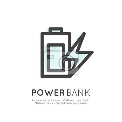 Ładowarka Web Power Template Banku Akumulator Bateria telefonu, Glossy Vector płaską linię Zarys Stroke Ikona Piktogram Symbol