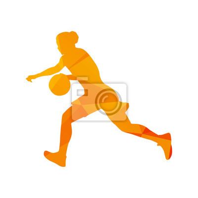 Łamana koszykarz kobieta, streszczenie wyizolowanych wektorowe silh