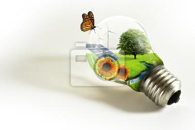 Naklejka Lampadina con paesaggio ekologia