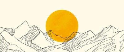 Naklejka landscape wallpaper design with Golden mountain line arts, luxury background design for cover, invitation background, packaging design, fabric, and print. Vector illustration.