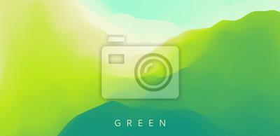 Naklejka Landscape with green mountains. Mountainous terrain. Abstract nature background. Vector illustration.