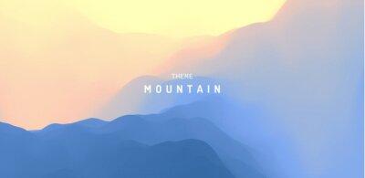 Naklejka Landscape with mountains and sun. Sunrise. Mountainous terrain. Abstract background. Vector illustration.