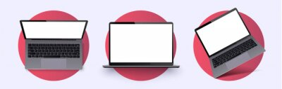 Naklejka Laptop frame less blank screen. Realistic laptop in different positions, angle. Mockup generic device.  Telephone frame with blank display isolated. Realistic simple isolated 3d vector set. Mobile