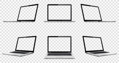 Naklejka Laptop with transparent screen on transparent background. Perspective, top and front laptop view with transparent screen.