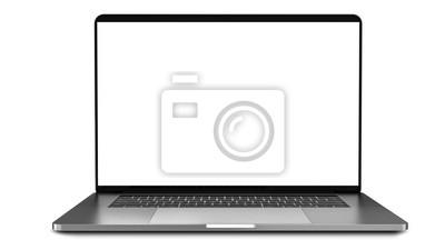 Naklejka Laptop z pustym ekranem wyizolowanych na bia? Ym tle, bia? E aluminiowe body.Whole w centrum uwagi. Wysoka szczegółowość.
