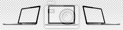 Naklejka Laptopy z przezroczystym ekranem na przezroczystym tle. Perspektywa i widok z przodu z pustym ekranem.