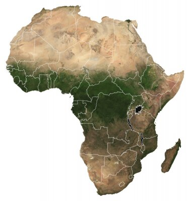 Naklejka Large (97 MP) isolated satellite image of Africa with country borders. African continent from space. Detailed map of Africa in orthographic projection. Elements of this image furnished by NASA.