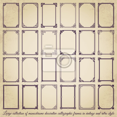 Naklejka Large collection of decorative calligraphic frames in vintage and retro style