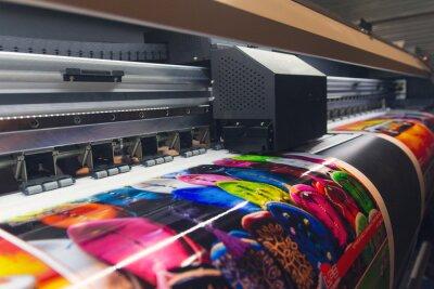 Naklejka Large format printing machine in operation. Industry