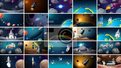 Naklejka Large set of different space scenes