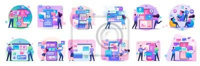 Naklejka Large set of mini concepts of teenagers work on smartphones, tablets, managing gadgets. Basis for web design and application design