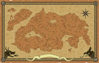 Naklejka Large vector fantasy map with trees, mountains, a compass rose, an ornate frame with icons (magician, catapult, mounted knight, castle), a scroll banner, a dragon head and a chimera head.