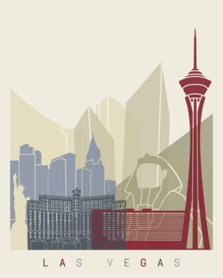 Naklejka Las Vegas Skyline Plakat