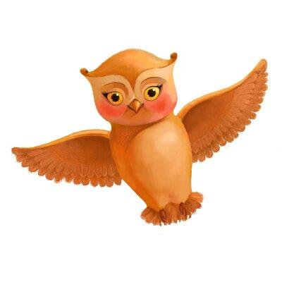 Naklejka Latanie ikonę sowa. Ilustracja w stylu kreskówki brązowego sowy. S