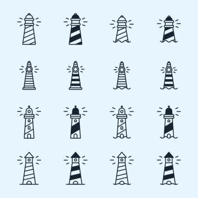 Latarnia morska Beacon Sea Light Sign Symbol Minimalistyczny Flat Line Stroke Vector Icon