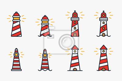 Latarnia morska Beacon Sea Light Znak Symbol Minimalistyczne Kolor Płaski Linia Ikona Stroke Vector