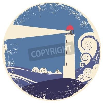 Naklejka latarnia morska w morzu landscape.vintage ilustracji na starym papierze