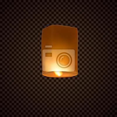 Latarnia na przezroczystym tle. Festiwal Diwali pływająca lampa. Wektor indian papieru latający lekki ballon z płomieniem przy nocnym niebem.