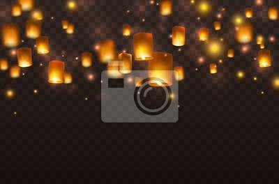Latarnie na przezroczystym tle. Festiwal Diwali pływające lampy. Wektor indyjski papier latające światła z płomieniem na nocnym niebie.