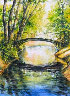 Naklejka Latem krajobraz z mostu nad rzeką w park.Picture stworzony z akwarelami.