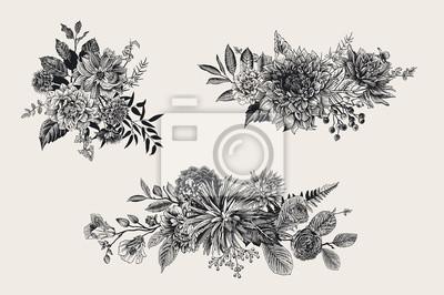 Lato i jesienią zestaw bukiet kwiatów. Dahlias, Ruscus, Viburnum, Ranunculus. Nowoczesna florystyka. Ilustracji wektorowych. Czarny i biały