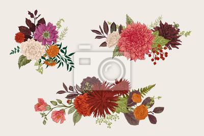 Lato i jesienią zestaw bukiet kwiatów. Dahlias, Ruscus, Viburnum, Ranunculus. Nowoczesna florystyka. Ilustracji wektorowych. Kolorowy.