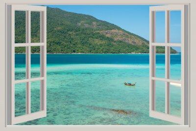Naklejka Lato, podróże, wakacje i koncepcji wakacje - otwarte okno