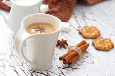 Naklejka latte kawa i ciasteczka czekoladowe