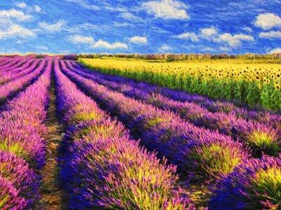 Naklejka Lavender and sunflowers field.