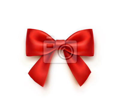 Łęk odizolowywający na białym tle. Wektor czerwona wstążka satynowa Boże Narodzenie z cienia, szablon elementu xmas zawijania.