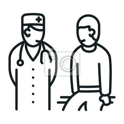 Lekarz i pacjentki minimalizują czarno-białą linię