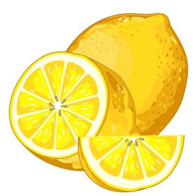Naklejka Lemon Pojedynczo na białym tle.