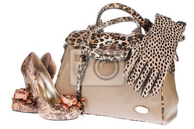 Leopard torby, buty i rękawice