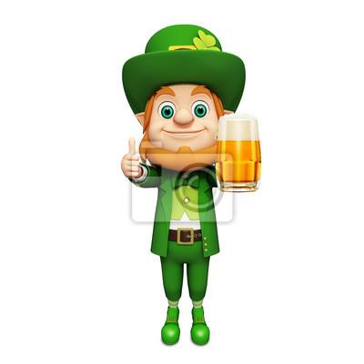 Naklejka Leprechaun na dzień patryka stojący z dużym szklanki do piwa